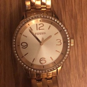 Fossil Round Face Rhinestone Link RoseGold Watch